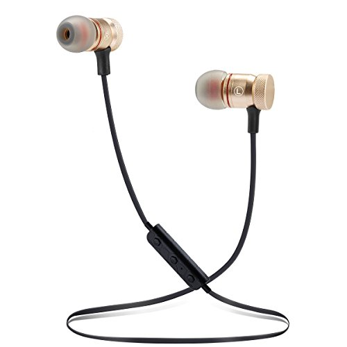Bluetooth Headphones Wireless Headphones Sweatproof Stereo Sports Earbuds with Magnetic attraction Earphones for Running Workout Gym Noise-Canceling with Built-in Mic Headset YYQ (M-Gold)