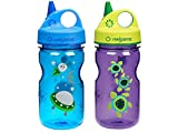 Nalgene Grip-N-Gulp Kids / Children's Tritan 12oz Water Bottles - Multi-Patterm Bundle Pack of Two Bottles. Each bottle is 7.5 Inches Tall by 3 Inches in Diameter (Blue Space and Purple Sea Turtles)