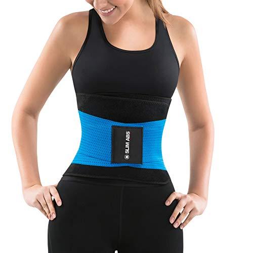 Slim Abs Sauna Waist Trainer Corset Vest - Slimming Neoprene Body Shaper for Women (Blue, S/M)