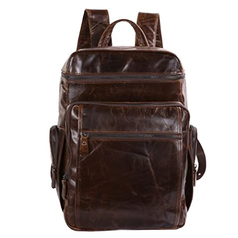 Men's Genuine Leather Business Backpack Travel School Bag Knapsack Fit 15