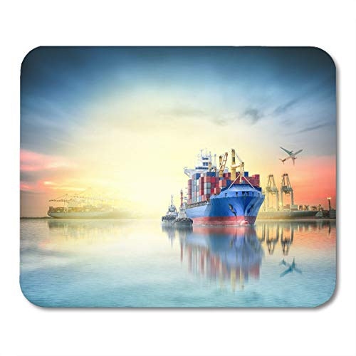 """Emvency Mouse Pads Logistics and Transportation of International Container Cargo Ship Plane Ports Crane Bridge in Harbor at Mouse pad Mats 9.5"""" x 7.9"""" for Notebooks,Desktop Computers Office Supplies"""