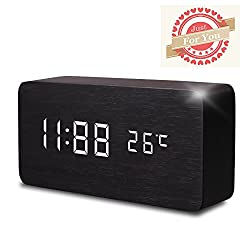 Wooden Digital Alarm Clock, Leeron Cube Wood-shaped Time Temperature and Sound Control Desk Alarm Clock for Kid, Home, Office, Daily Life, Heavy Sleepers (Black)