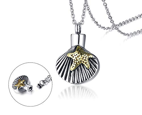 - PJ Jewelry Personalized Custom Seashell Gold Starfish Cremation Urn Pendant Ashes Holder Memory Necklace for Pet