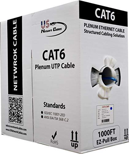 (550MHz Cat6 Blue Plenum 1000FT UTP Solid Bulk Network Cable - US Network Cables)