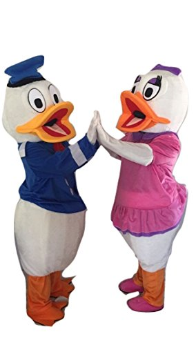 Donald And Daisy Costumes (Donald Duck & Daisy Characters Costume Mascot Adult Size For Birthday Boy or Girl Birthday Party Event Halloween)