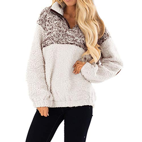 Women's High Neck 1/4 Zip Sherpa Pullover Long Sleeve Fluffy Fleece Sweatshirt Oversize Color Block Outwear Jacket (Best Soccer Websites To Shop)