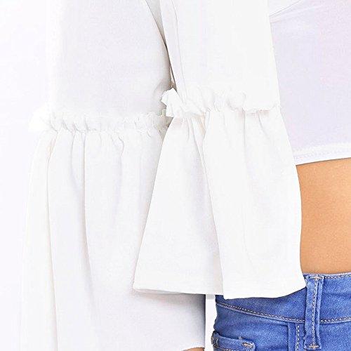 Coat Trench Fit V Manteau Veste Blanc Blazer Trompette Slim Shujin Automne Col Cardigan Volants Ourlet Coupe À Femme Manches zwHwxPqv