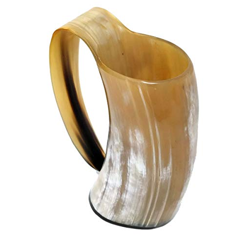 (AleHorn The Original Handcrafted Authentic Viking Drinking Horn Tankard for Beer Mead Ale 100 Genuine Medieval Inspired Stein Mug Food Safe Vessel with Handle Large White Premium Pearl)