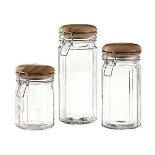 Set Of 3 Glass Canister Jars With Trigger Airtight Tight Lids And Wooden  Cover For Kitchen