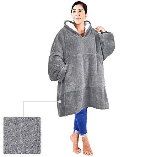 (Blanket Sweatshirt, Reversible Sherpa Oversized Giant Hoodie Cozy Warm Comfortable Sweatshirt with Pocket for Women & Children Grey ash)