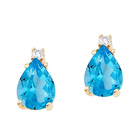 14k Yellow Gold Large 9x6mm Pear Shaped Blue Topaz and Diamond Earrings