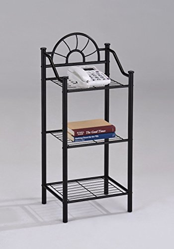 (3-tier Garden Plant / Phone Stand Corner Accent Table Bookshelf, Black Finish)