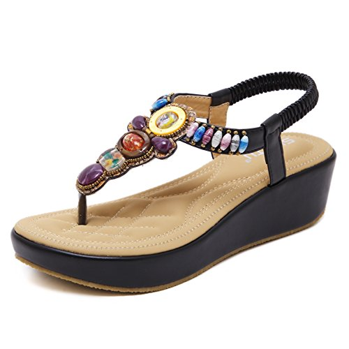 (LUXINYU Women's Bohemian Platform Sandals Rhinestone Bead Wedge Shoes Thong Sandal Black US 7)