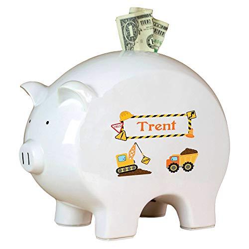 MyBambino Personalized Construction Piggy Bank Baby Boys Newborn Gift