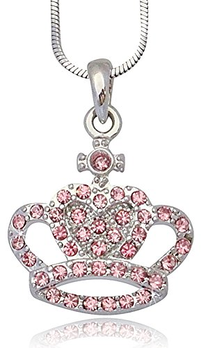Princess Queen Crystal Embellished Crown Pendant Necklace for Girls, Teens, Women (Pink) (Story Bunny Easter Christmas)