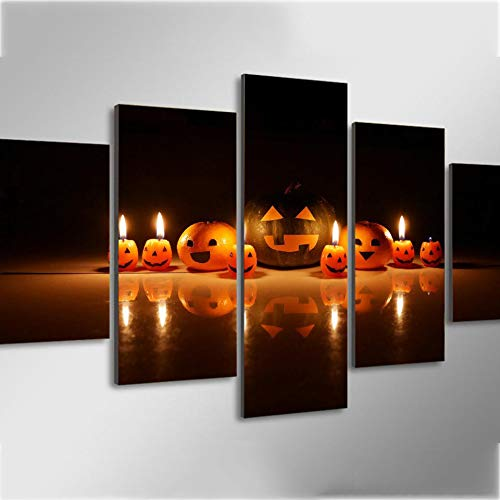 Yyjyxd Canvas Home Decor Framework 5 Pieces Pumpkin Smiley Face Expression Candle Paintings HD Printed Wall Art Pictures Modular Poster-8 x 14/18/246inch,Without -