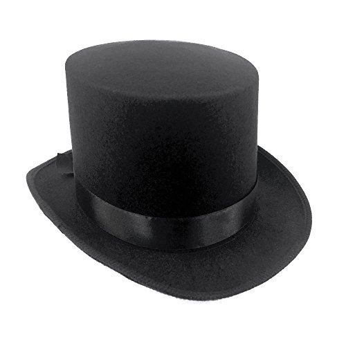 JJMS Brand Fantastic Black Top Hat Great Quality Hard Felt top Hat - Gothic Top Hat
