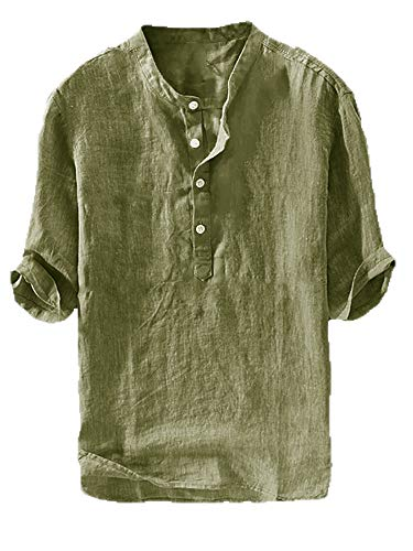 Mens Linen Henley Shirt Casual 3/4 Sleeve T Shirt Pullover Tees V Neck Curved Hem Cotton Shirts Beach Tops (Medium, C-Army ()