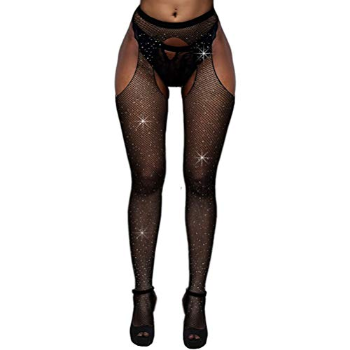 (BangMode Crystal Fishnet Stockings, Women's Sexy Sparkle Rhinestone Stockings)