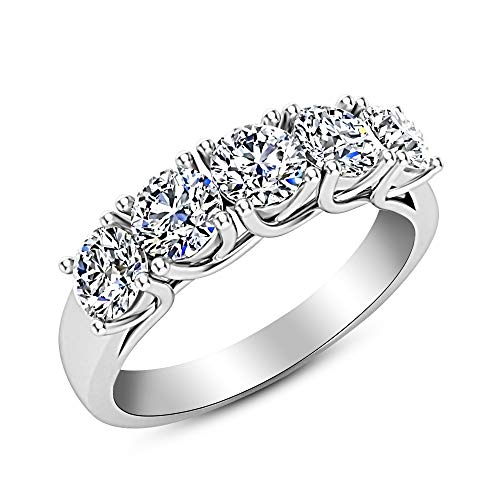 - 2 Carat (ctw) 14K White Gold Round Diamond Ladies 5 Five Stone Wedding Anniversary Stackable Ring Band Premium Collection
