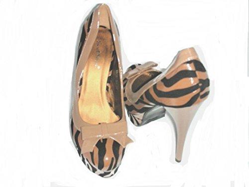 Sfiziosa - Zapatos de vestir de Piel para mujer Beige Beige nero 37