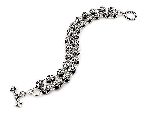 Twisted Blade 925 Sterling Silver Round Cross Double Link Bracelet 9'' by Buy For Less