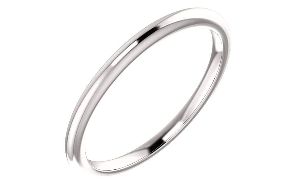 Jewels By Lux 14k White Gold Wedding Ring Band for 8mm Round Ring Size 7