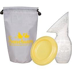 Silicone Breast Pump 100% FDA Approved Food Grade Silicone, Manual Milk Breastfeeding Pump Includes Lid, Pouch