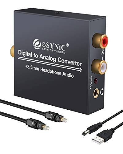 eSynic DAC Digital to Analog Audio Converter Digital Optical SPDIF Coaxial to Analog L/R RCA Converter Toslink to 3.5mm Jack Audio Adapter with 1m Optical Cable for HDTV Blu Ray HD DVD Apple TV Xbox