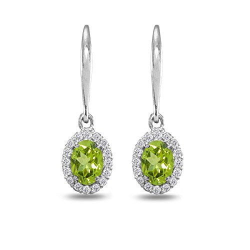 Sterling Silver Genuine, Created and Simulated Gemstone Birthstone Dainty Oval Dangle Halo Leverback Earrings