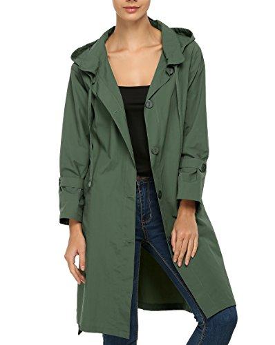 ACEVOG Women's Spring Fall Hooded Raincoat Outdoor Waterproof Jacket
