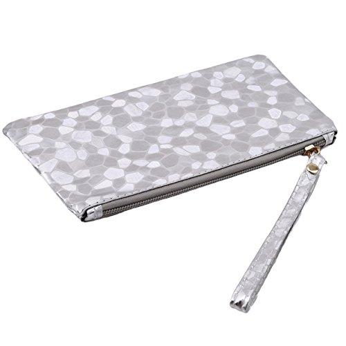 Sac Section Portefeuilles Téléphone monnaie Porte Mode EJY à Portable Femme Argent Zippé Longue Clé Main xOcg8