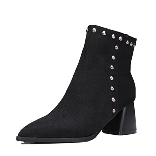Ei&iLI Bottes courtes femmes Chunky talon Zipper Fashion bottes / a souligné Toe cuir robe noir / rouge , black , 34