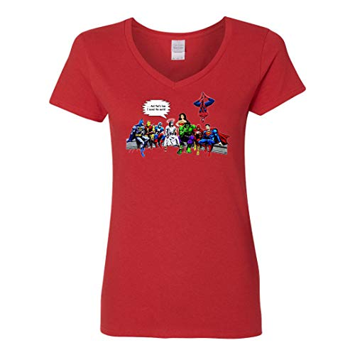 (and That's How I Saved The World Jesus Superheroes with W Woman - V-Neck T-Shirt/Red)