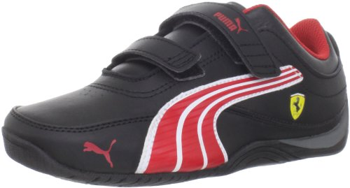 PUMA Drift Cat 4 Ferrari Leather V Kids Sneaker (Toddler/Little Kid/Big Kid),Black/Rossa Corsa/White,4 M US Toddler
