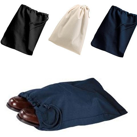 ((3 Pack) Set of 3- Reusable Cotton Shoe Bags with Drawstring (Black))