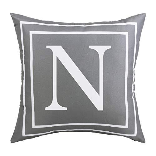 BLEUM CADE Gray Pillow Cover English Alphabet N Throw Pillow Case Modern Cushion Cover Square Pillowcase Decoration for Sofa Bed Chair Car 18 x 18 Inch ()