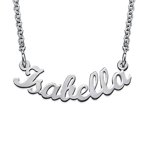 Curved Name Necklace Nameplate in Silver- Free Personalization