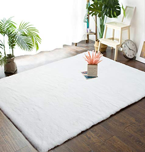 Junovo 4ft x 6ft Super Soft Rabbit Faux Fur Rugs Children Play Carpet with Shaggy Thick Fluffy Bedside Rug Extremely Comfortable Floor Mats for Living & Bedroom, White (Rug White Soft)