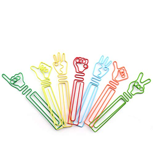 NX Garden 24pcs Creative Hand Gestures Shaped Paper Clips School Office Stationery Student Supplies Multi-Color Decorative Metal Binder Bookmark -