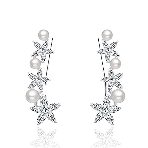 Mevecco Womens Girls Ear Crawler Climber Faux Pearl with CZ Crystal Ear Wrap Cuffs Earrings Sweep Stud Earring (Floral Wrap Around Watch)