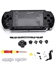 Game Shell for PSP 1000, Replacement Full Housing Console Game Shell Case Cover, PSP 1000 Console Host Shell, with Screwdriver(Black)