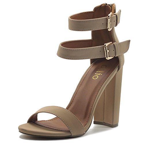 Chunky High Heel Sandals (Ollio Women's Shoes Double Ankle Strap Zip Up Chunky High Heel Sandals MG00H45 (10 B(M) US, Nude))