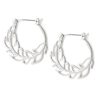 35881fd4c Amazon.com: Jody Coyote Earrings Nouveau Collection NU-0911-08 silver hoop  leaf: Jewelry