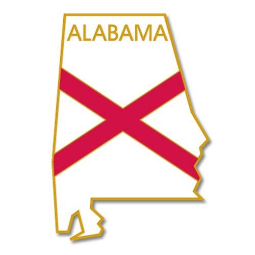 PinMart's State Shape of Alabama Flag Lapel Pin
