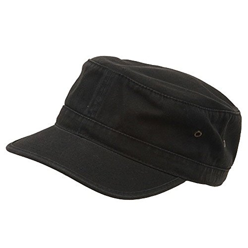 Washed Military Hat-Black W32S37C Camo Military Cap