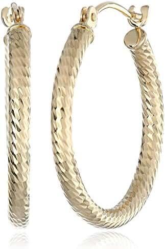 14k Yellow Gold Diamond-Cut Hoop Earrings (0.8