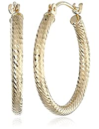 "14k Yellow Gold Diamond-Cut Hoop Earrings (0.8"" Diameter)"