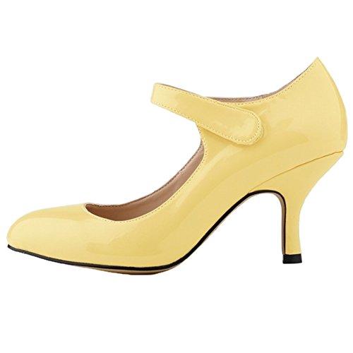 HooH Women's Candy Color Velcro Work Kitten Shoes Dress Pump Yellow 3OGpYnPvsh
