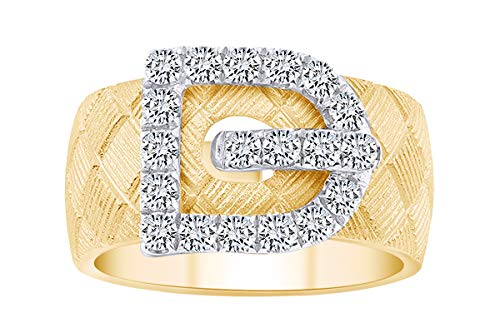 IGI Certified 0.73 Carat (cttw) Round White Natural Diamond Buckle Fashion Ring 18k Solid Yellow Gold Ring Size 10